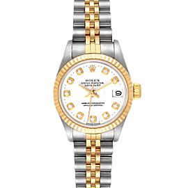 Rolex Datejust Steel Yellow Gold White Diamond Dial Watch 69173
