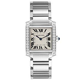 Cartier Tank Francaise Midsize Diamond Steel Ladies Watch W4TA0009