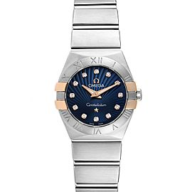 Omega Constellation Steel Blue Diamond Dial Watch 123.20.24.60.53.002 Box Card