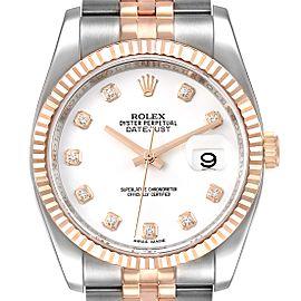 Rolex Datejust 36mm Steel Rose Gold Diamond Unisex Watch 116231