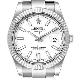 Rolex Datejust II 41mm Steel White Gold Mens Watch 116334