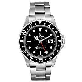 Rolex GMT Master II Black Bezel Steel Mens Watch 16710 Box Papers