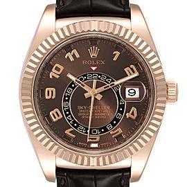 Rolex Sky-Dweller Chocolate Brown Everose Gold Mens Watch 326135