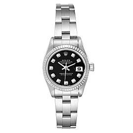 Rolex Datejust Steel White Gold Black Diamond Dial Watch 79174