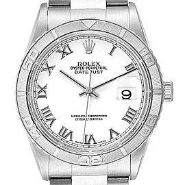 Rolex Turnograph Datejust Steel White Gold White Roman Dial Watch 16264
