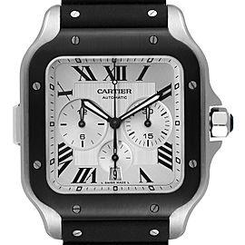 Cartier Santos 100 XL Chronograph Steel Rubber Mens Watch WSSA0017