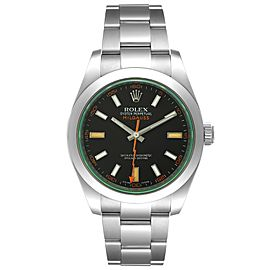 Rolex Milgauss Black Dial Green Crystal Steel Mens Watch 116400V