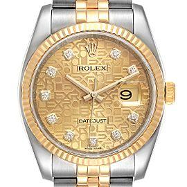 Rolex Datejust 36 Steel Yellow Gold Diamond Mens Watch 116233
