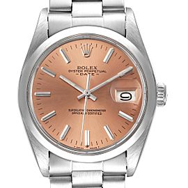 Rolex Date Stainless Steel Bronze Dial Vintage Mens Watch 1500