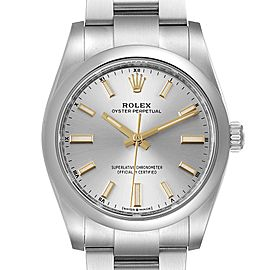 Rolex Oyster Perpetual 34mm Silver Dial Steel Mens Watch 124200