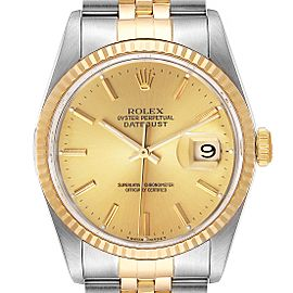 Rolex Datejust Steel 18K Yellow Gold Champagne Dial Mens Watch 16233