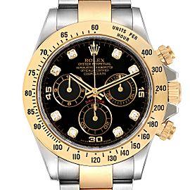 Rolex Daytona Steel Yellow Gold Diamond Chronograph Watch 116523