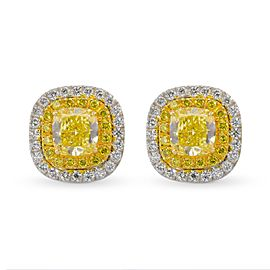 Leibish 18K White and Yellow Gold Fancy Intense Yellow Cushion Double Halo Diamond Earrings