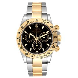 Rolex Daytona Steel Yellow Gold Black Dial Mens Watch 116523 Box Card