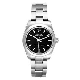 Rolex Midsize Black Dial Domed Bezel Steel Ladies Watch 177200 Unworn
