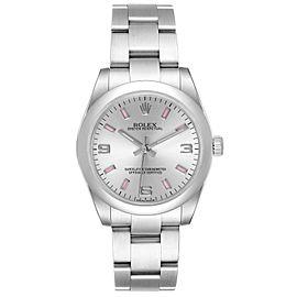 Rolex Midsize Silver Dial Pink Hour Markers Ladies Watch 177200 Unworn