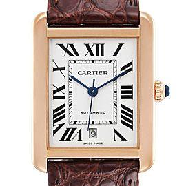 Cartier Tank Solo XL Rose Gold Silver Dial Steel Mens Watch W5200026 Unworn