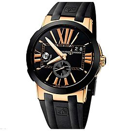 Ulysse Nardin Executive Dual Time Black Rose Gold 18 K Men`s Watch