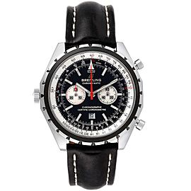 Breitling Chronomatic Left Crown Black Strap Mens Watch A41360 Box Papers