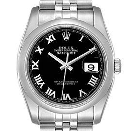Rolex Datejust 36mm Black Roman Dial Steel Mens Watch 116200