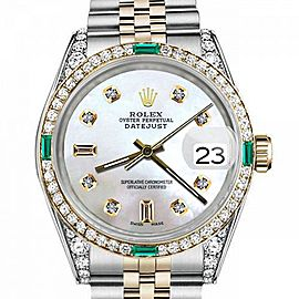 Ladies Rolex 26mm Datejust Two Tone Jubilee White MOP Mother Of Pearl 8 + 2 Diamond Accent Bezel + Lugs + Emerald 69173
