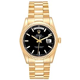 Rolex President Day-Date Black Dial Yellow Gold Watch 118238