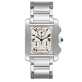 Cartier Tank Francaise Chronoflex Chronograph Steel Mens Watch