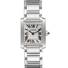 Cartier Tank Francaise Silver Dial Blue Hands Watch W51008Q3