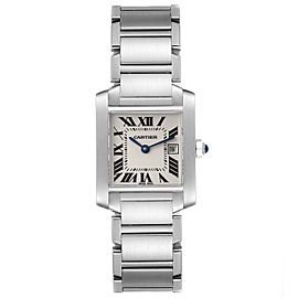 Cartier Tank Francaise Midsize 25mm Silver Dial Ladies Watch