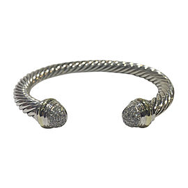 David Yurman Cable Classics Sterling Silver & 18K Yellow Gold 0.49ct Diamonds Bracelet