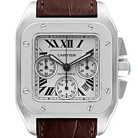 Cartier Santos 100 XL Silver Dial Brown Strap Chronograph Watch W20090X8