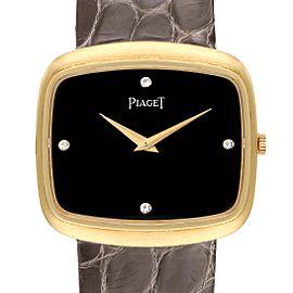 Piaget 18K Yellow Gold Black Diamond Dial Grey Strap Mens Watch 9751