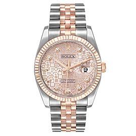 Rolex Datejust 36mm Dial Steel Rose Gold Diamond Unisex Watch 116231