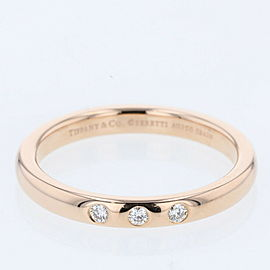 TIFFANY & Co. 18k pink Gold/3P diamond Stacking band Ring TBRK-596