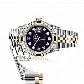 Ladies Rolex 26mm Datejust Two Tone Jubilee Purple Color Dial Diamond Accent Bezel + Lugs + Rubies
