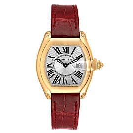 Cartier Roadster Yellow Gold Burgundy Strap Ladies Watch W62018Y5 Box Papers