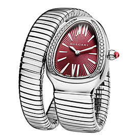 Bulgari Serpenti Steel Diamonds Tubogas Quartz Ladies Watch SP35C7SDS.1T