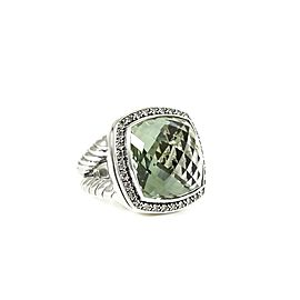 David Yurman Sterling Silver .65tcw 17mm Moonlight Prasiolite Diamond Albion Ring