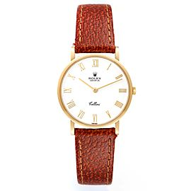 Rolex Cellini Classic 18K Yellow Gold White Roman Dial Mens Watch