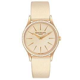 Patek Philippe Calatrava Rose Gold Beige Dial Diamond Ladies Watch 4897R