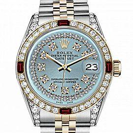 Men's Rolex 36mm Datejust Two Tone Jubilee Ice Blue String Diamond Dial Bezel + Lugs + Rubies