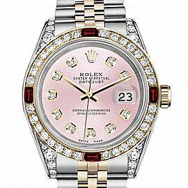 Men's Rolex 36mm Datejust Two Tone Jubilee Metallic Pink Diamond Dial Bezel + Lugs + Rubies