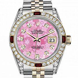 Men's Rolex 36mm Datejust Two Tone Jubilee Pink Flower MOP Dial Diamond Bezel + Lugs + Rubies