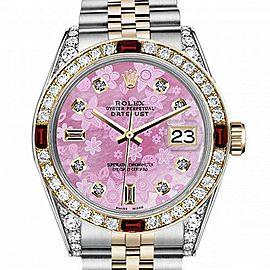 Men's Rolex 36mm Datejust Two Tone Jubilee Pink Flower MOP Mother of Pearl Dial 8+2 Diamond Bezel + Lugs + Rubies