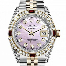 Men's Rolex 36mm Datejust Two Tone Jubilee Pink MOP Mother Of Pearl Dial Diamond Accent Bezel + Lugs + Rubies