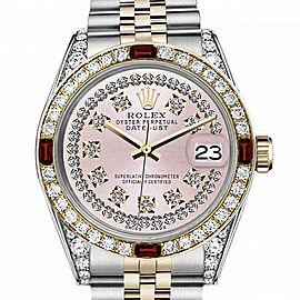 Men's Rolex 36mm Datejust Two Tone Jubilee Pink String Diamond Dial Vintage Style Marker Bezel + Lugs + Rubies