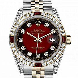Men's Rolex 36mm Datejust Two Tone Jubilee Red Vignette Color Dial Diamond Accent RT Bezel + Lugs + Rubies