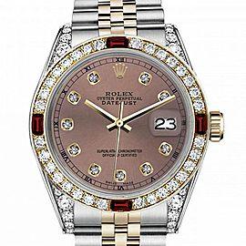 Men's Rolex 36mm Datejust Two Tone Jubilee Salmon Color Dial Diamond Accent RT Bezel + Lugs + Rubies