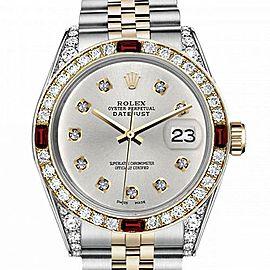 Men's Rolex 36mm Datejust Two Tone Jubilee Silver Color Diamond Dial Bezel + Lugs + Rubies