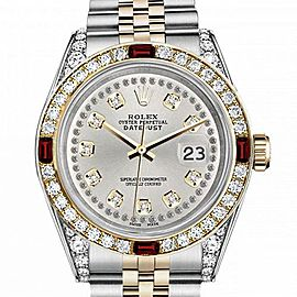 Men's Rolex 36mm Datejust Two Tone Jubilee Silver Color String Diamond Accent Dial Bezel + Lugs + Rubies